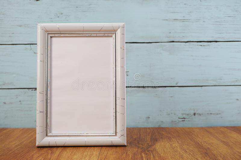 Space photo frame with space background royalty free stock image