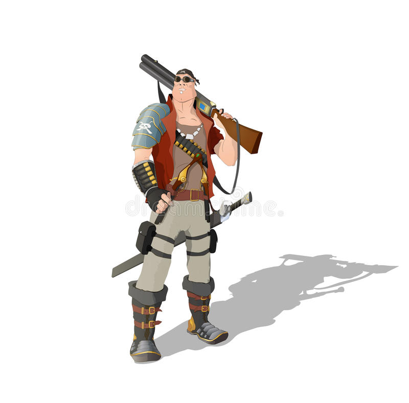 Space pirate. Man standing with rifle, pistols and sword vector illustration