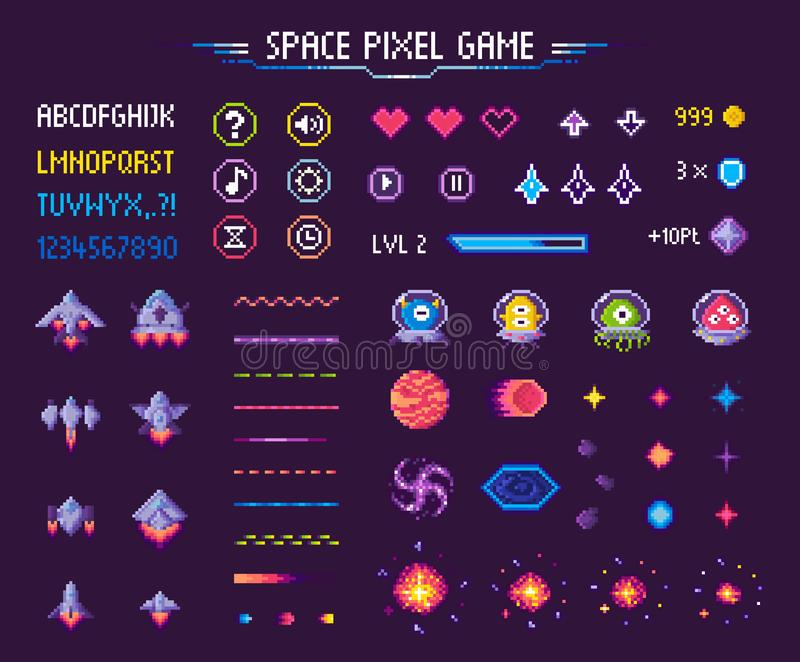 Space Pixel Game Icons Font and Cosmic Characters vector illustration