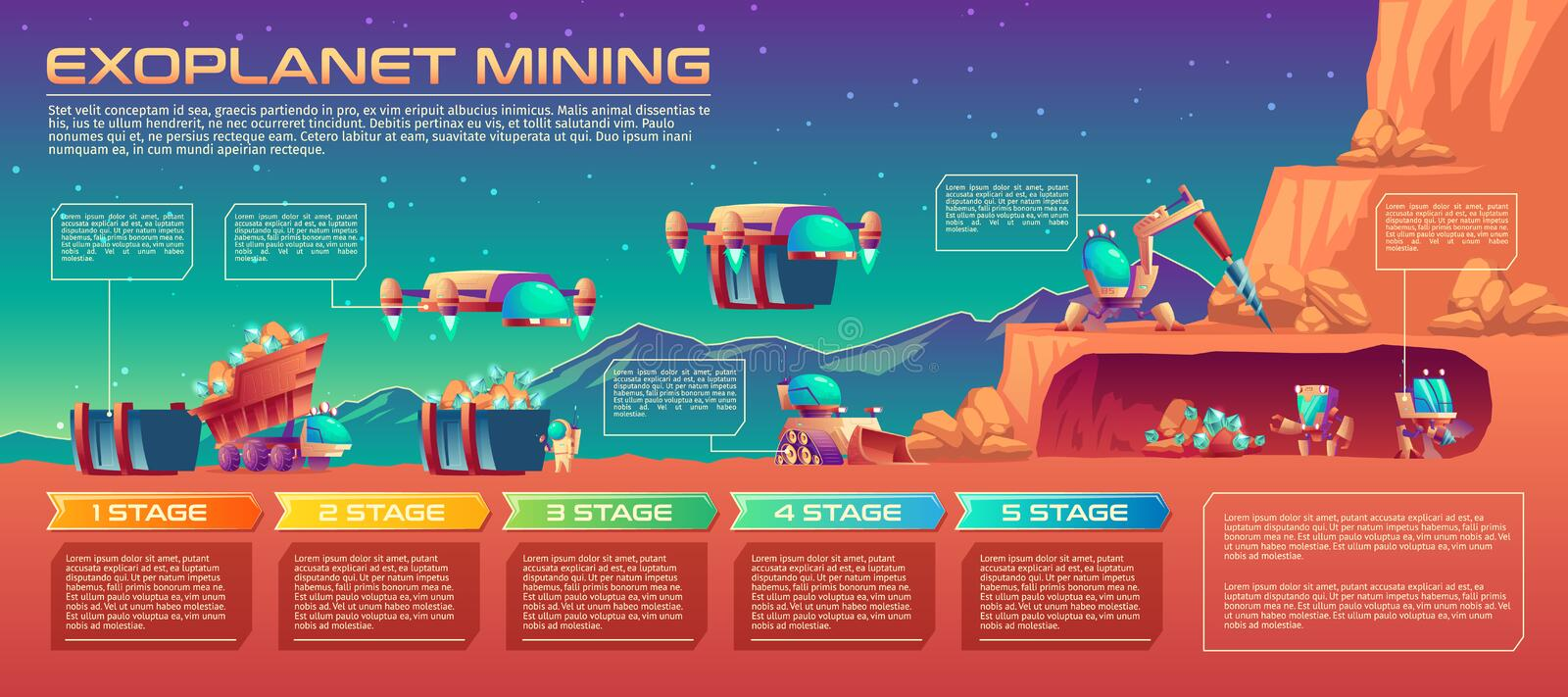 Space planet mining robots vector infographics vector illustration