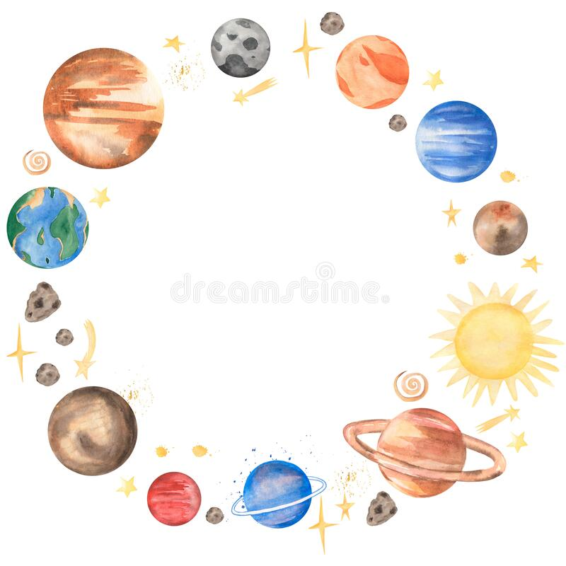 Free Space Planet Wreath Clipart. Watercolor Solar System Illutration, Moon, Galaxy Frame Clip Art, Earth Royalty Free Stock Images - 209787869