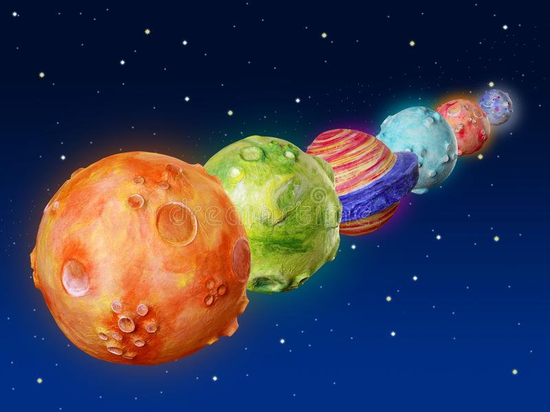 Space planets fantasy handmade universe stock illustration
