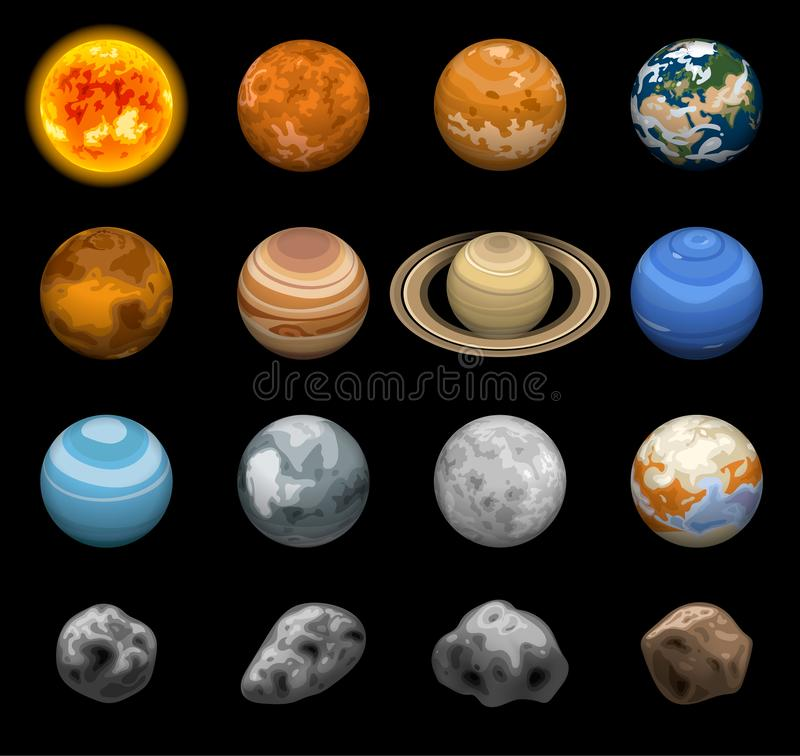 Space planets icon set, isometric style. Space planets icon set. Isometric set of space planets vector icons for web design isolated on black background stock illustration