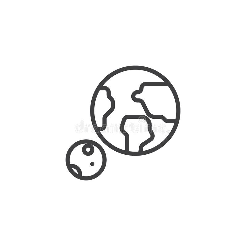 Space planets line icon vector illustration