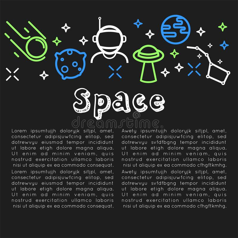 Space poster with text sample and icons vector vector illustration