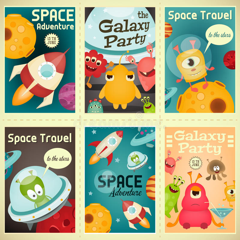 Space Posters Set royalty free illustration