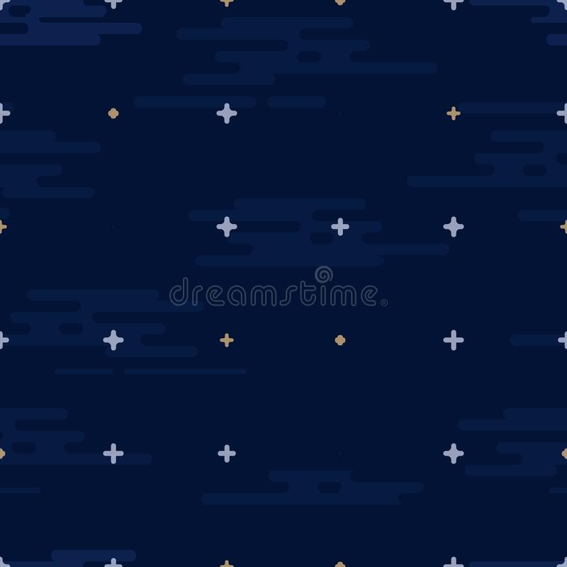 Space print. Seamless vector pattern. Different colored planets of the Solar system and stars. vector illustration