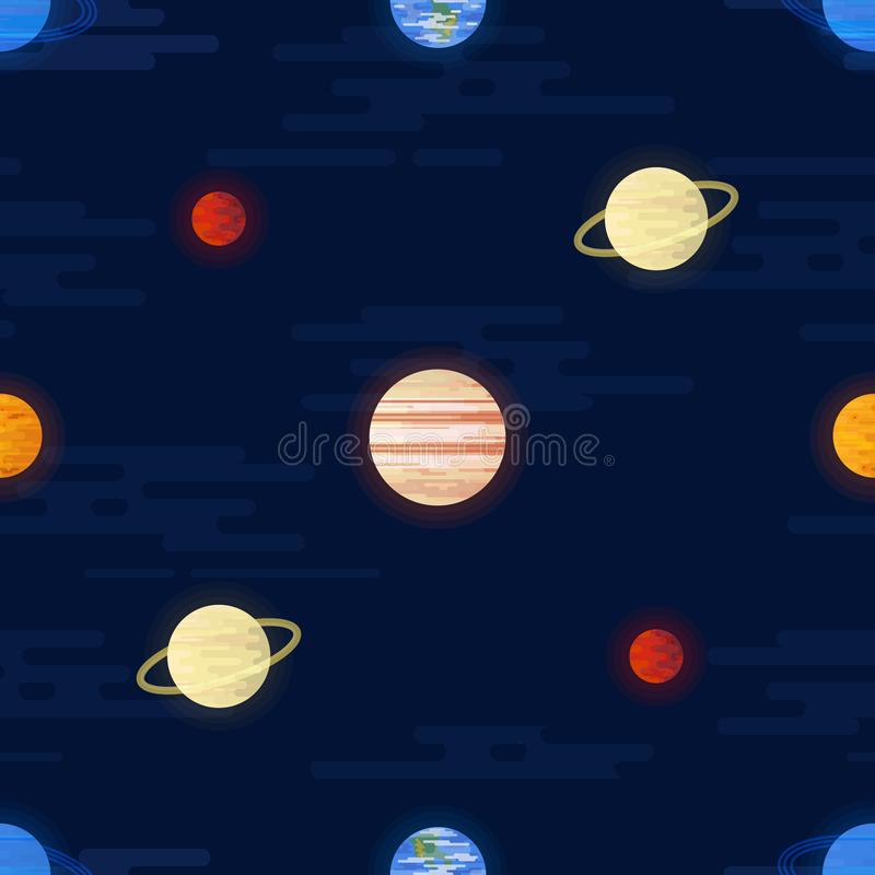 Space print. Seamless vector pattern. Different colored planets of the Solar system and stars. stock illustration