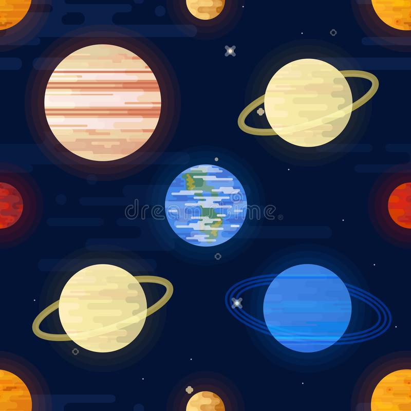 Space print. Seamless vector pattern. Different colored planets of the Solar system and stars. royalty free illustration