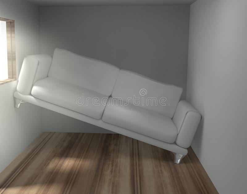 Space problems in the small living room 3d. Render vector illustration