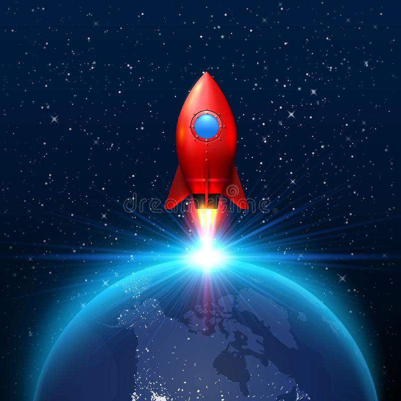Space red rocket launch creative art. stock illustration