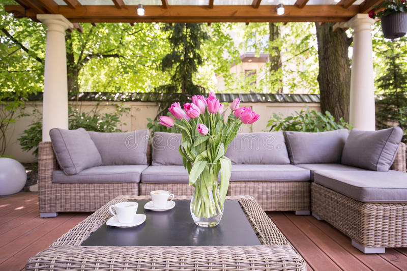 Space for relax. Designed space for relax in modern garden stock photography