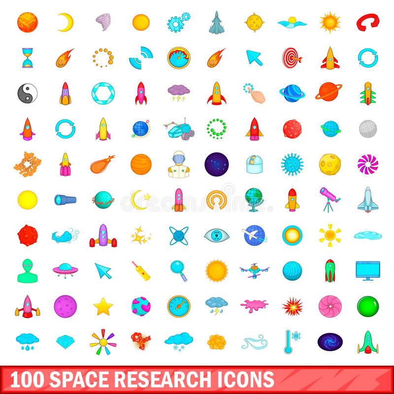 100 space research icons set, cartoon style royalty free illustration