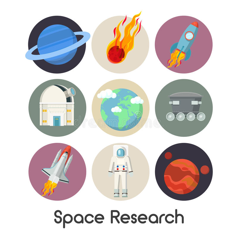 Space Research Icons Set with Shuttle and Planets stock illustration