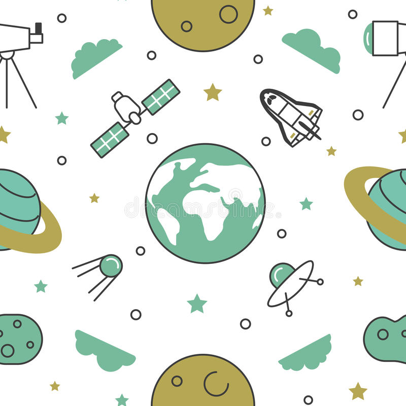 Space Research Line Art Thin Seamless Pattern Background with Shuttle and Planets royalty free illustration