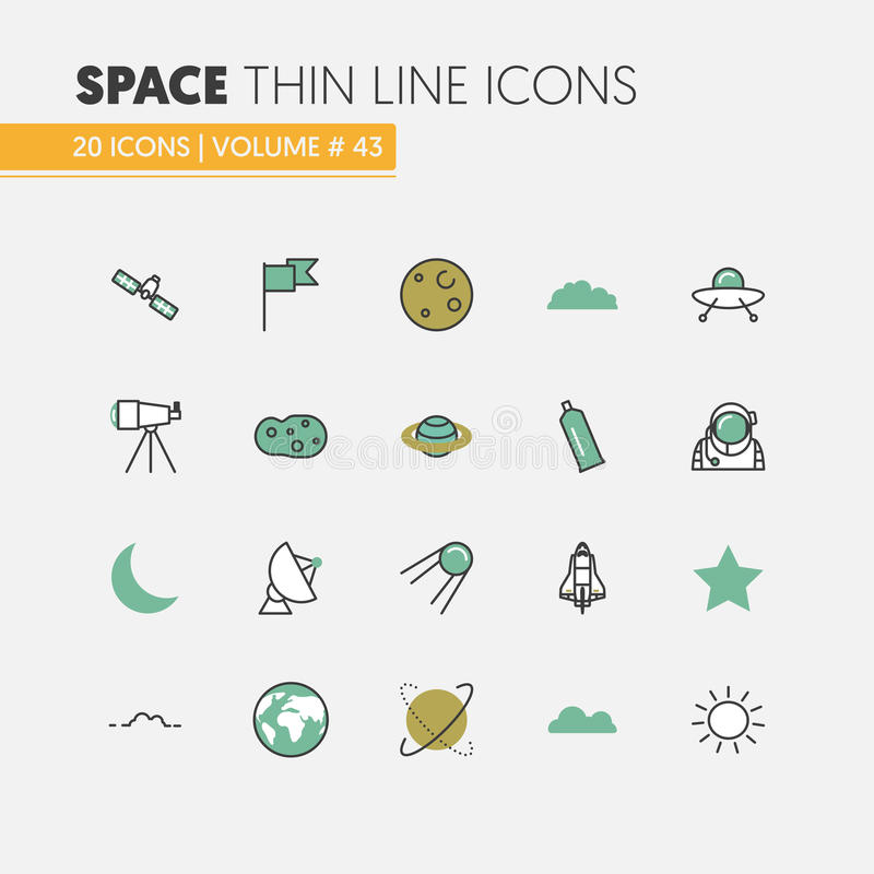 Space Research Linear Thin Line Icons Set with Shuttle Astronaut and Planets royalty free illustration