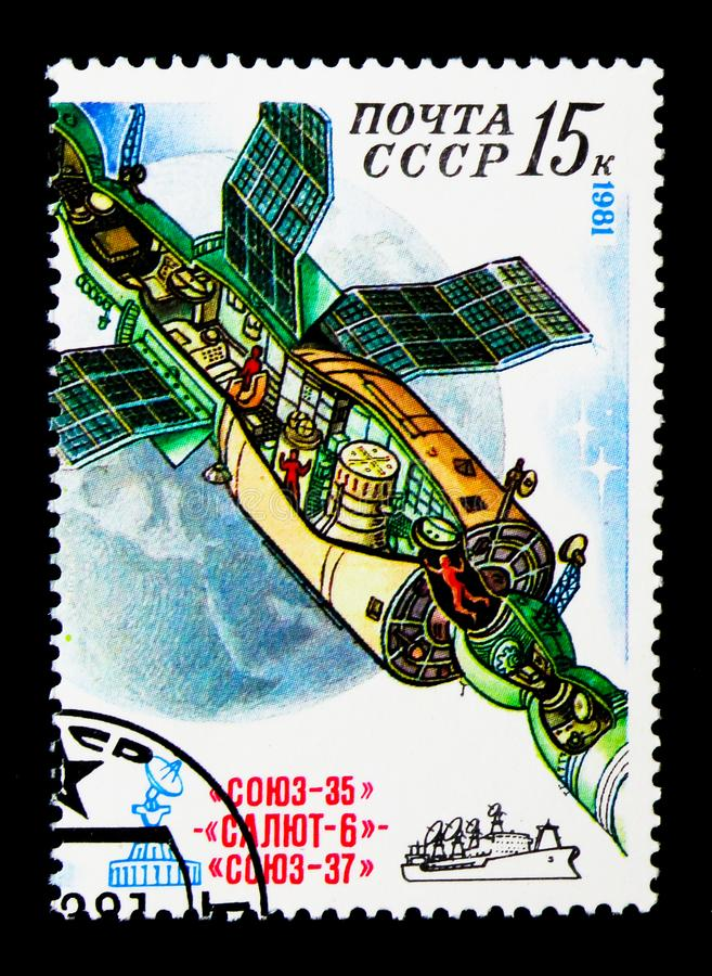 Space Research on Orbital Complex, 185 Days in Space of Cosmonauts Popov and Ryumin serie, circa 1981. MOSCOW, RUSSIA - NOVEMBER 24, 2017: A stamp printed in stock photography