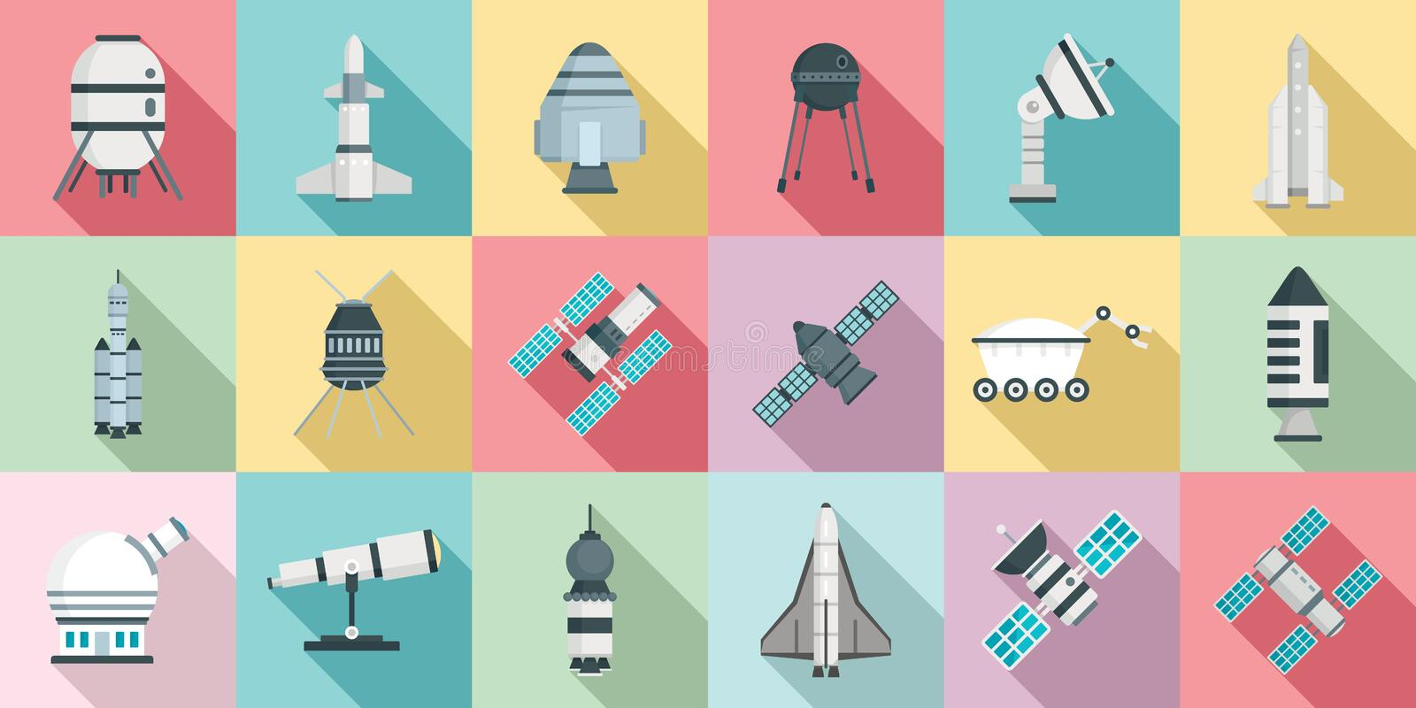 Space research technology icons set, flat style vector illustration