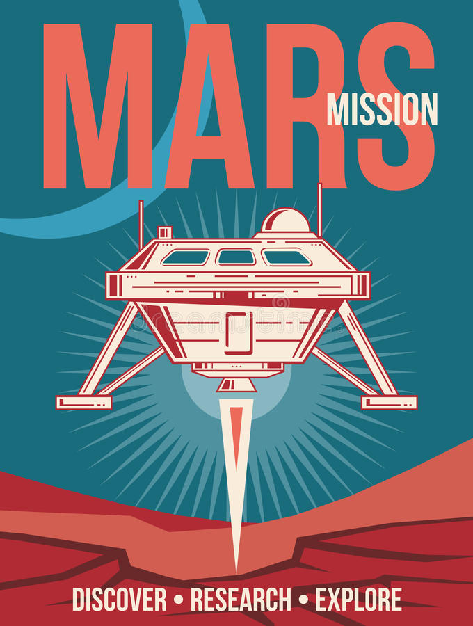 Space research vector poster. Spaceship landing to Mars vintage background vector illustration