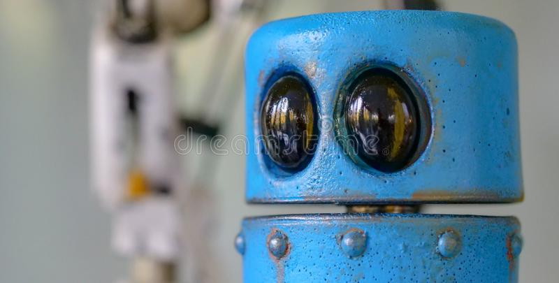Space robot eyes. Close-up of big eyes of a space robot toy stock photos