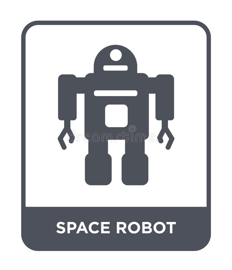 Space robot icon in trendy design style. space robot icon isolated on white background. space robot vector icon simple and modern. Flat symbol for web site royalty free illustration