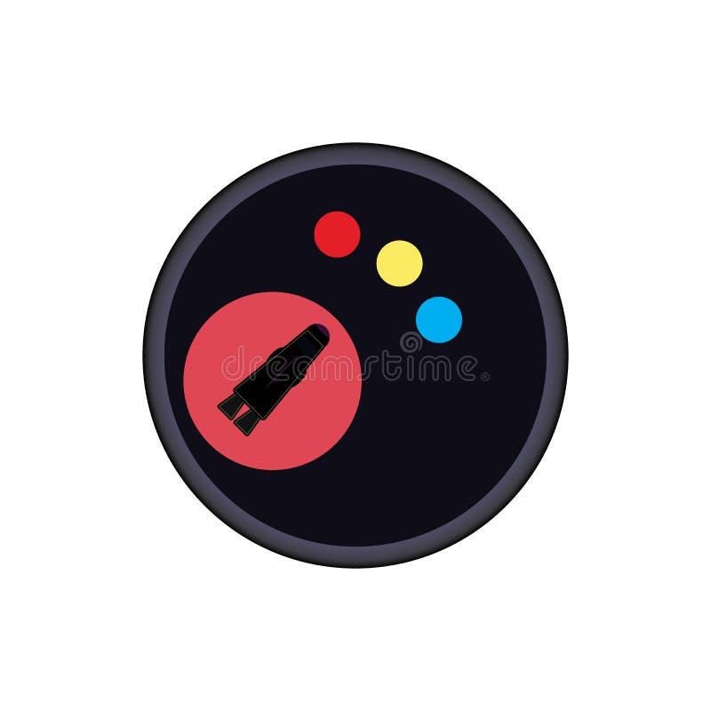 Space rocket badge vector eps10. flying n space rocket on red mars background. royalty free illustration