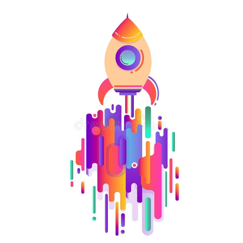 Space rocket, the concept of starting a business. Modern style abstraction with composition made of various rounded shapes in colo. R, a modern image of a flying vector illustration