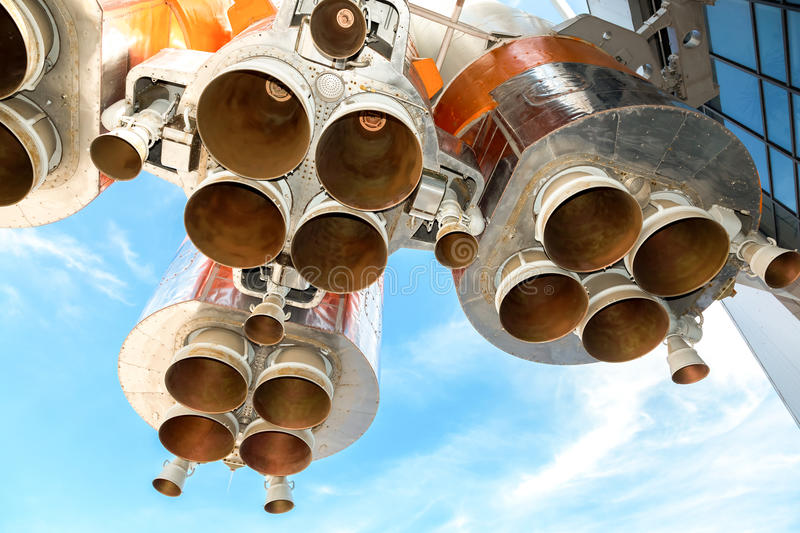 Space rocket engines of the russian spacecraft. Over blue sky background royalty free stock image