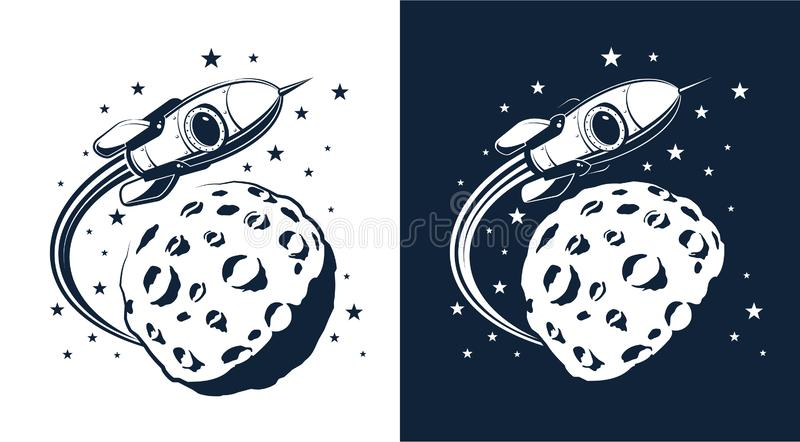 Space Rocket flies around the planet with craters similar to the moon vector illustration