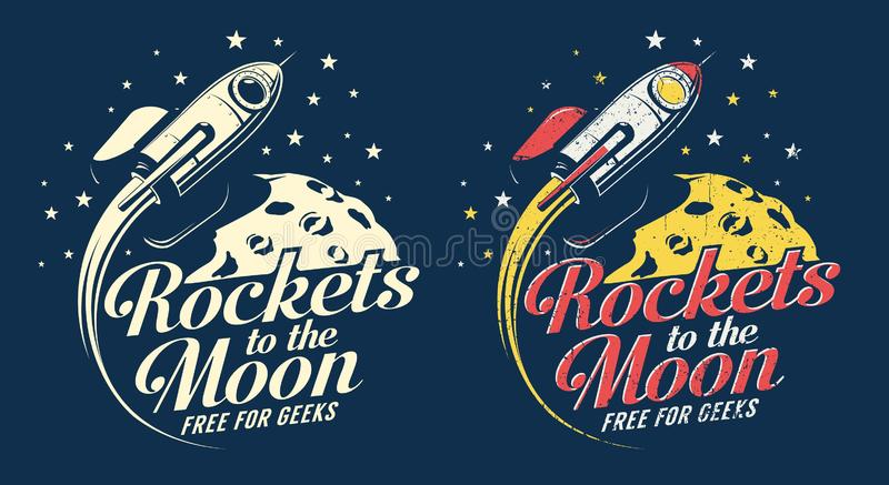 Space rocket flying around the planet with craters stock illustration