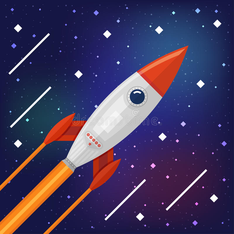 Space rocket flying through the Cosmos vector illustration