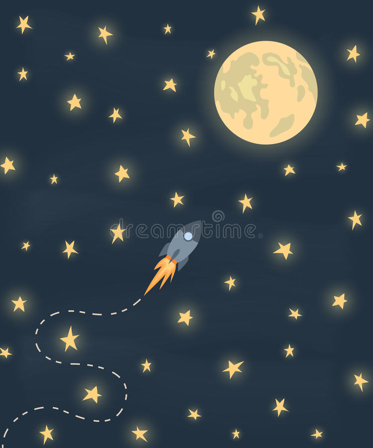 Space rocket flying to the moon royalty free illustration