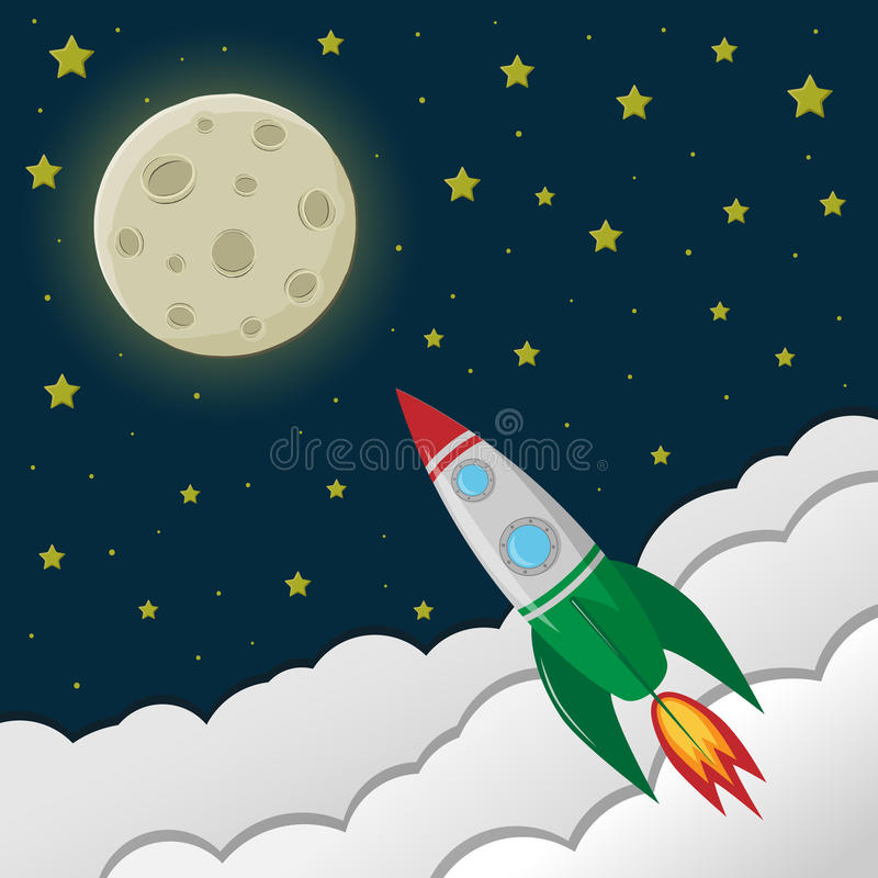 Space rocket flying to the moon. vector illustration