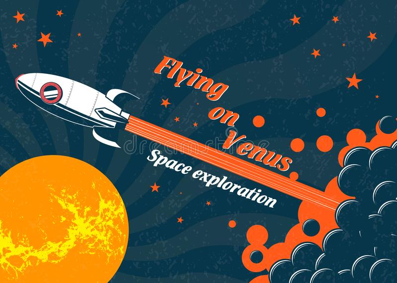 Space rocket flying to the planet Venus. stock illustration
