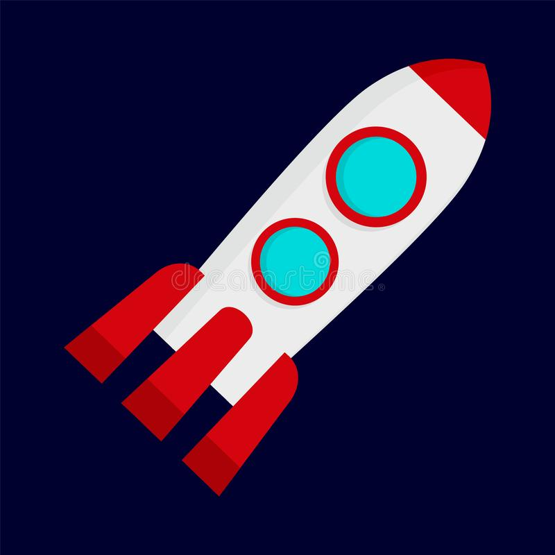 Space rocket icon, flat style stock illustration