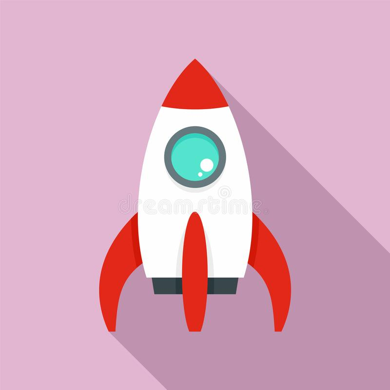 Space rocket icon, flat style vector illustration