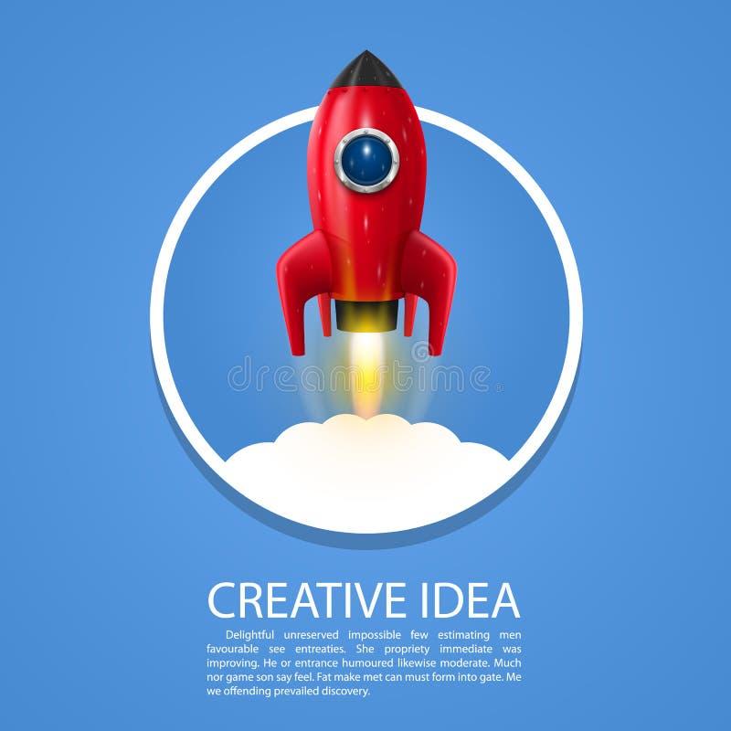 Space rocket launch vector illustration
