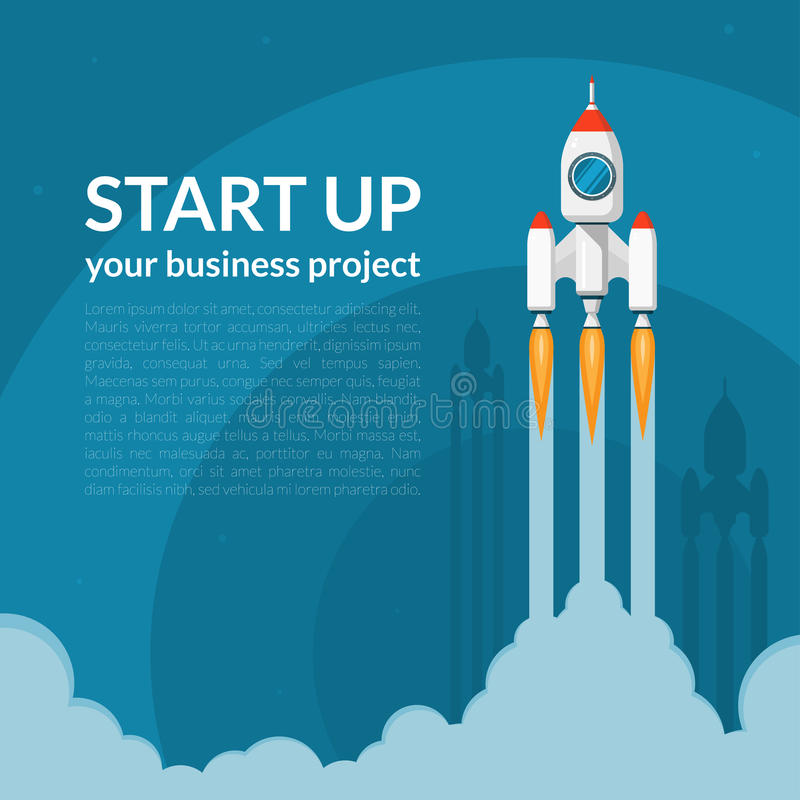 Space rocket launch. Business start up concept royalty free illustration