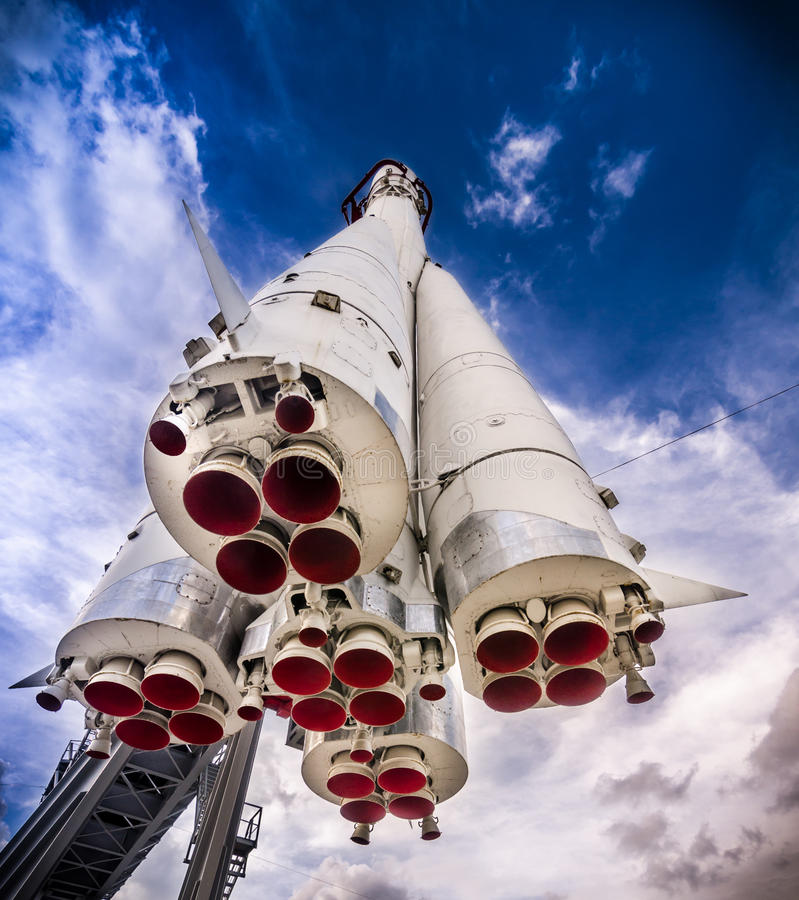 Space rocket on the launch pad royalty free stock images