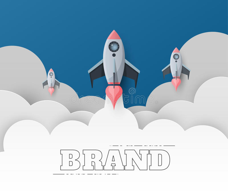 Space rocket launch. Start up concept flat style. vector illustration. royalty free illustration