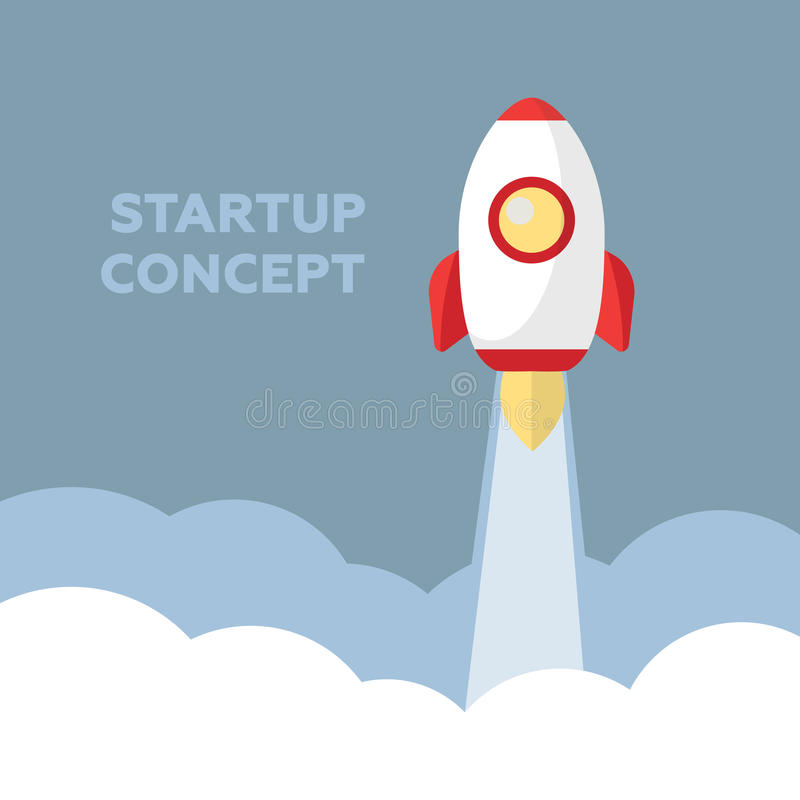 Space rocket launch. Startup creative idea royalty free illustration