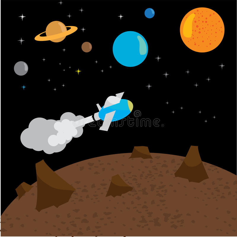 Space rocket launch. Vector illustration with flying rocket. Space travel. stock illustration