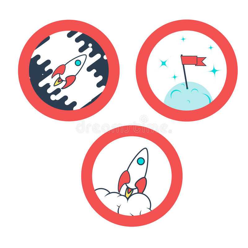 Space rocket launch. Vector illustration. Icons set. Space rocket launch. Vector illustration. Space icons set. Theme icons with flat astronomic symbols of royalty free illustration