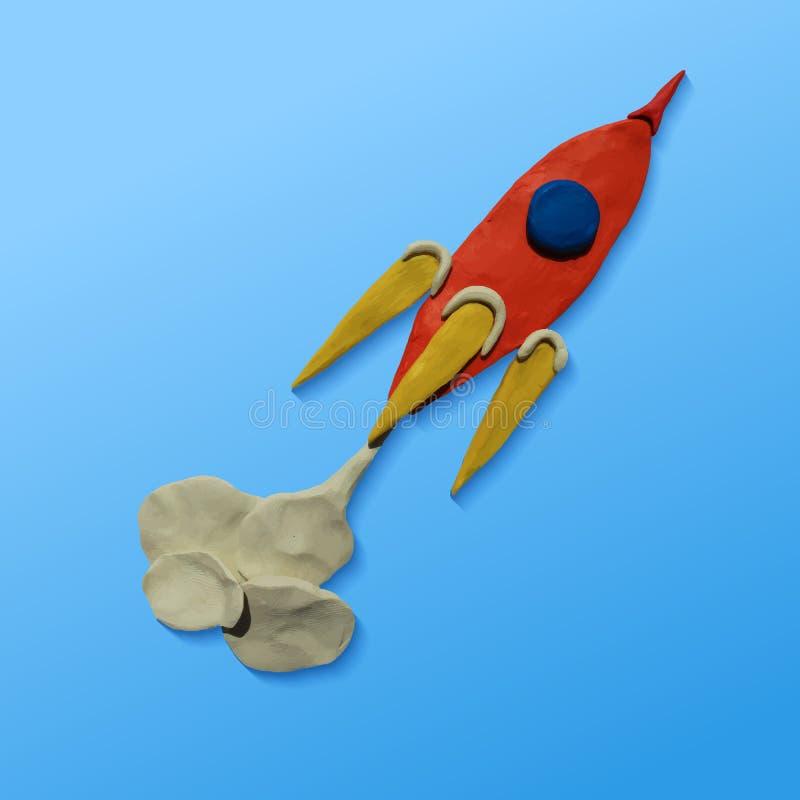Space rocket launch. Vector illustration. Plasticine modeling stock illustration