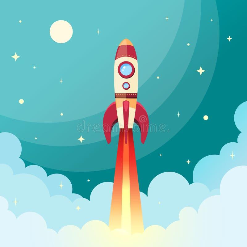 Space rocket print vector illustration