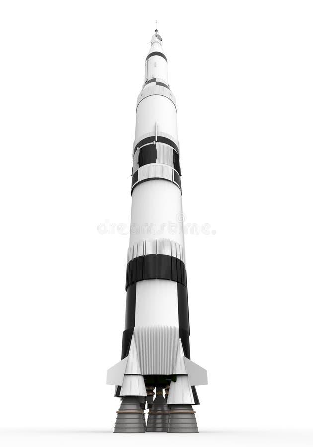 Space Rocket Saturn. On white background. 3D render stock illustration
