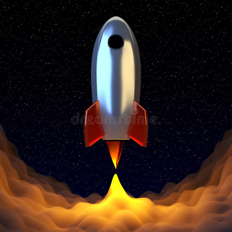 Space rocket srat to the universe journy. vector illustration