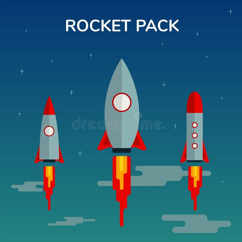 Space Rocket Start Up Pack and Launch Symbol New Businesses Innovation Development Flat Design Icons Set Template Vector. Illustration Cosmos Flat Fire royalty free illustration