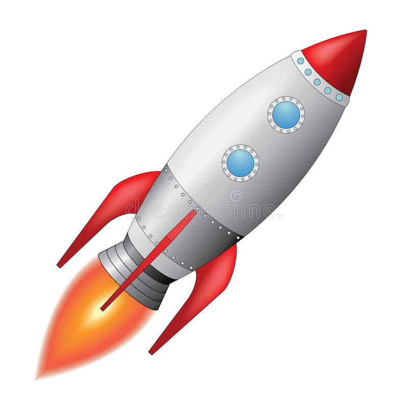 Space Rocket. Vector illustration of space rocket blasting off into the sky