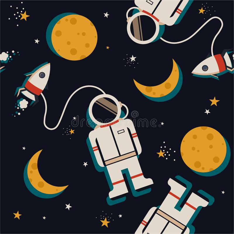 Space rockets, astronauts, moon and stars, colorful seamless pattern. Space rockets, astronauts, moon and stars, hand drawn seamless pattern. Colorful vector illustration